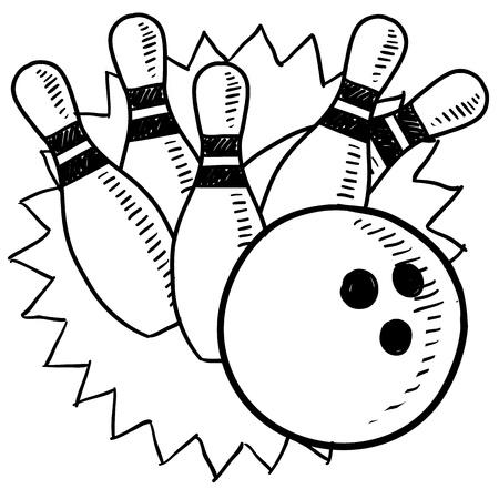 bowling: Doodle de estilo boceto de bolos en formato vectorial