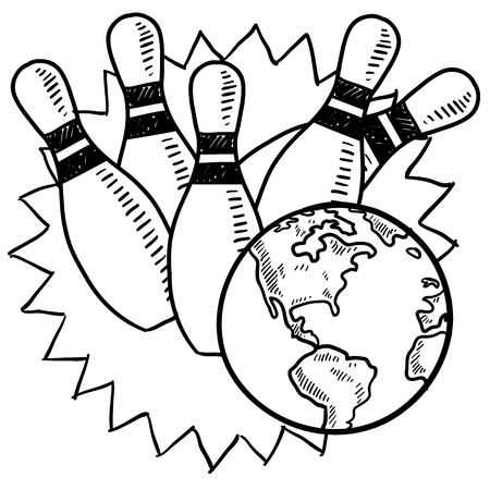 Doodle style bowling with the globe sketch in vector format  Zdjęcie Seryjne