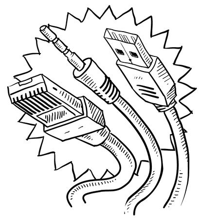 Doodle style computer cables sketch in vector format  Includes auxiliary jack, USB, and ethernet cable ends