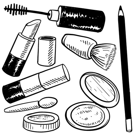 rouge: Doodle style makeup items sketch in vector format  Set include lipstick, blush, compact, eyeliner, and rouge