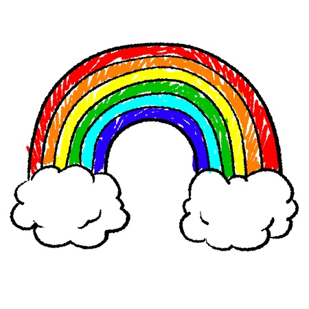uplifting: Doodle style rainbow sketch in vector format Stock Photo