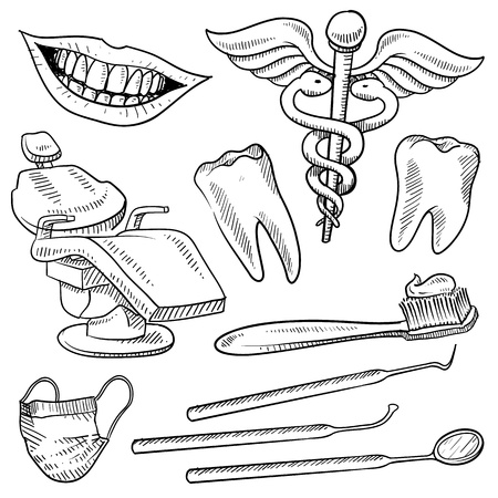 root canal: Doodle style dentist equipment sketch in vector format  Set includes dental chair, picks, mirrors, caduceus, toothbrush, smile, and teeth  Stock Photo