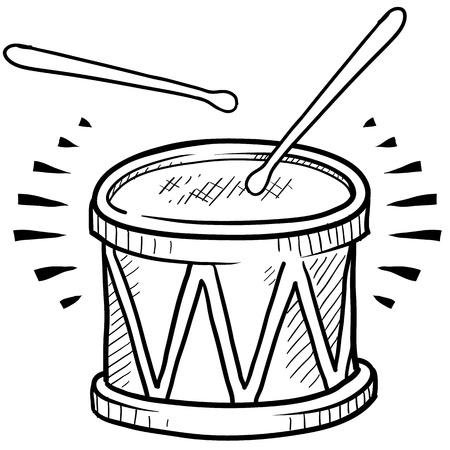 ベクトル形式のスタイル ドラム スケッチを落書き 写真素材