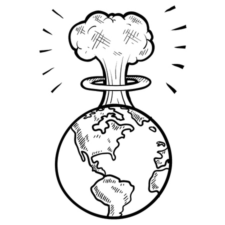 Doodle style global apocalypse with mushroom cloud sketch in vector format