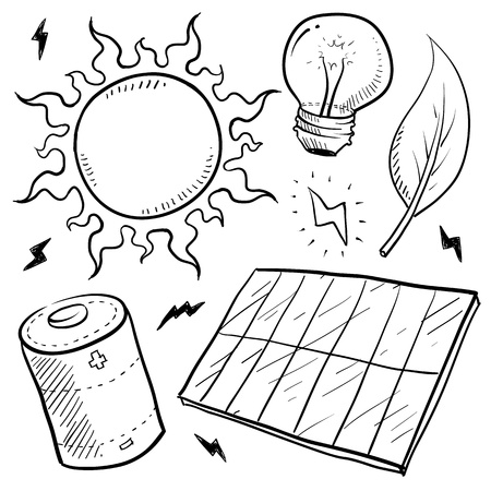 Doodle style renewable solar energy equipment sketch in vector format  Set includes solar panel, battery, sun, light bulb, leaf, and lightning bolts   Stock Photo - 14419968