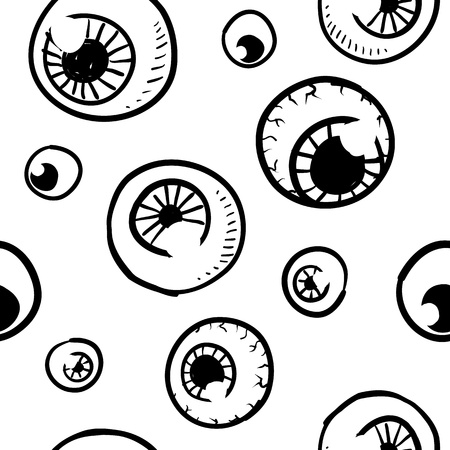 Doodle style seamless eyeball background sketch in vector format  Stock Photo - 14419941