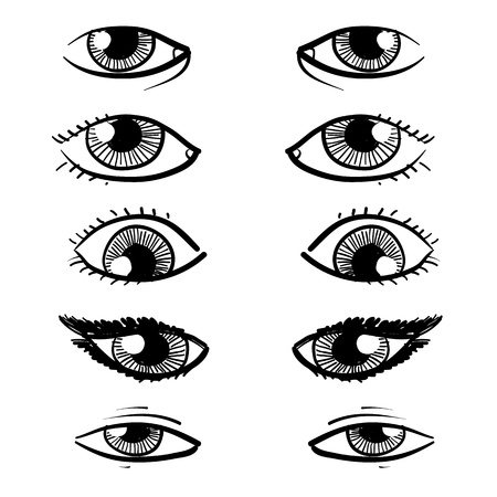 eyelids: Doodle style eyes sketch in vector format - includes a variety of eyes with lashes, shapes, and makeup  Stock Photo