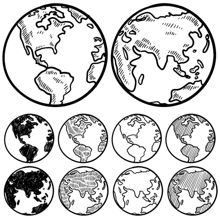 sketch: Doodle style perspectives on the globe sketch in vector format