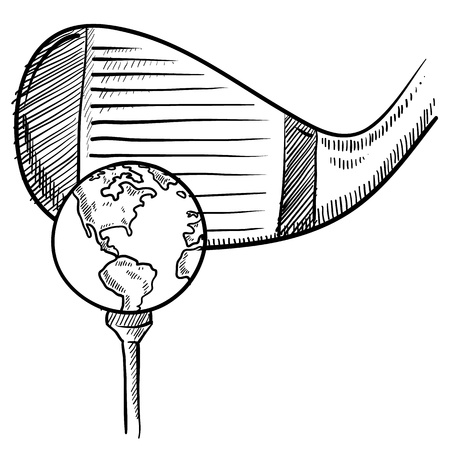 birdie: Doodle style playing golf with the world sketch in vector format