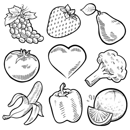 Doodle style healthy fruits and vegetables sketch in vector format  Set includes grapes, strawberry, pear, apple, tomato, heart, broccoli, banana, pepper, and orange