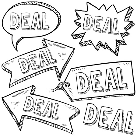 deal in: Doodle style deal tags, labels, and arrows sketch in vector format