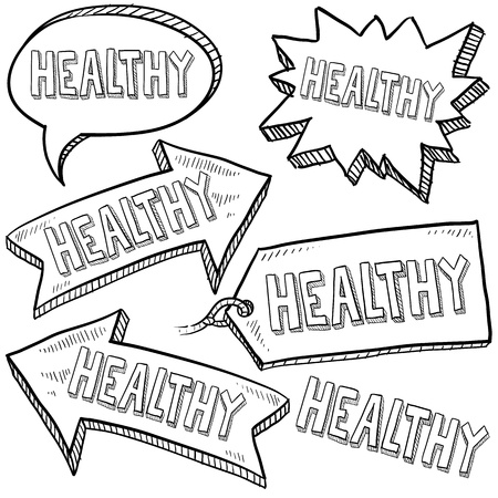 e mailing: Doodle style healthy tags, arrows, and labels sketch in vector format