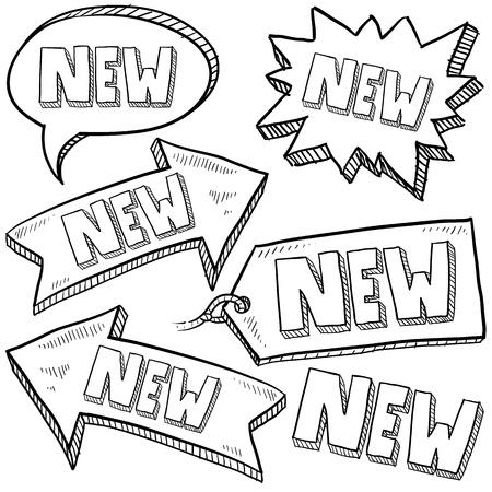 벡터 형식으로 낙서 스타일의 새로운 태그, 라벨, 화살표 스케치 스톡 콘텐츠