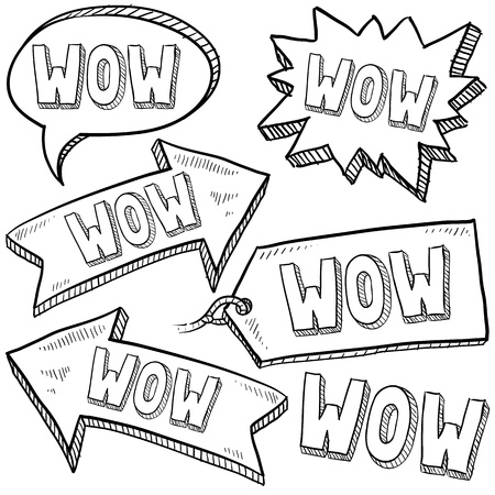 sketch: Doodle style Wow tags, arrows, and labels sketch in vector format  Stock Photo