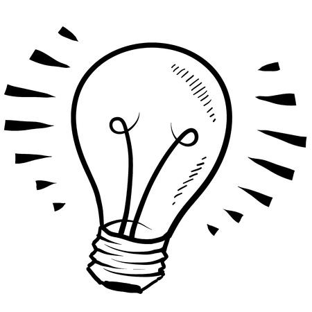 Doodle style light bulb or idea symbol sketch in vector format