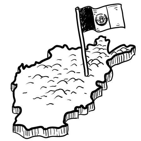 Doodle style map of afghanistan with flag sketch in vector format Stock Photo - 14419933