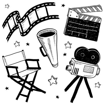 Doodle stijl filmset apparatuur, waaronder clapperboard, directeur s stoel, filmstrook, en megafoon vector illustratie Stockfoto