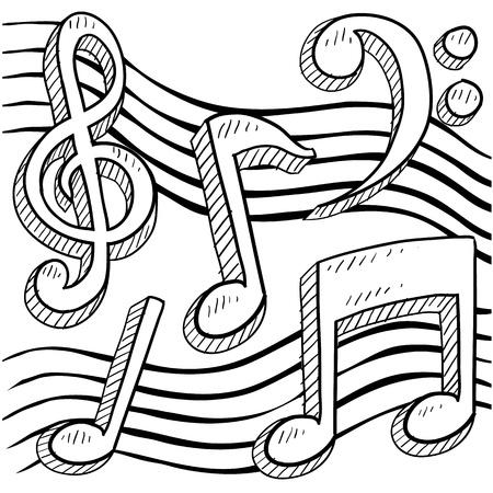 clave de fa: Estilo Doodle notas musicales boceto frontera en formato vectorial