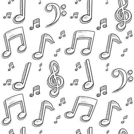 clave de fa: Notas musicales de estilo Doodle dibujo sin fisuras patr�n de fondo en formato vectorial