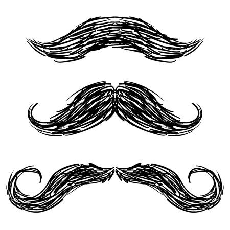 bigote: Bigotes estilo Doodle boceto en formato vectorial