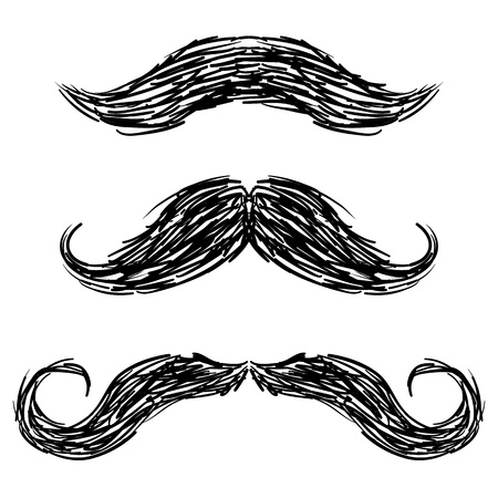 Doodle style mustaches sketch in vector format photo