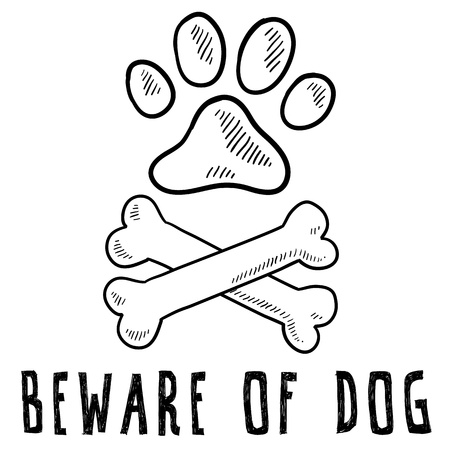Doodle style beware of dog sketch in vector format  photo