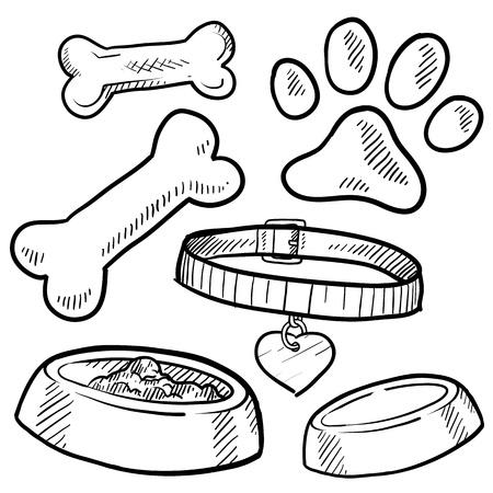 hueso de perro: Doodle mascota estilo de dibujo de engranajes en el Conjunto de formato vectorial incluye los huesos, el cuello, la comida y el tazón de agua, y la huella Foto de archivo