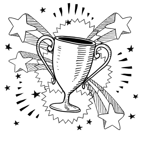 award winning: Doodle style trophy sketch in vector format on retro stars and fireworks background