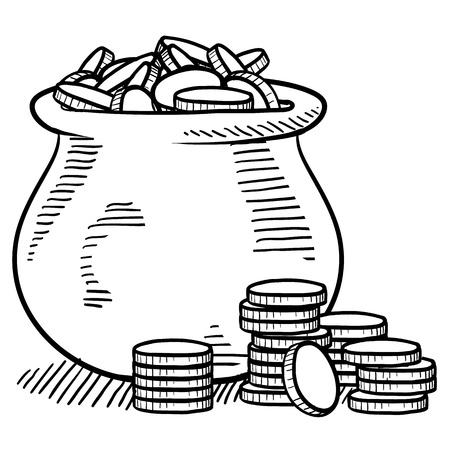 벡터 형식으로 돈을 스케치 낙서 스타일 냄비