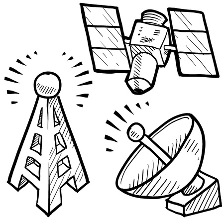 transmit: Doodle style telecommunications sketch in vector format  Set includes satellite dish, cell tower, and space satellite