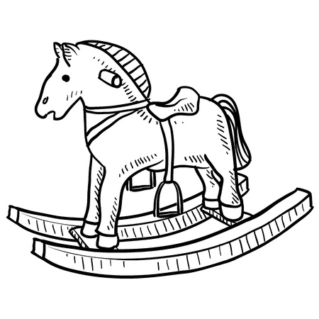 Doodle style child s rocking horse toy sketch in vector format  photo
