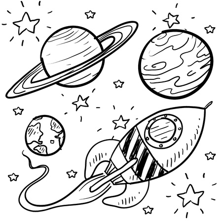 spacecraft: Doodle style science fiction set sketch in vector format  Set includes retro rocket ship and a variety of cartoon planets  Stock Photo