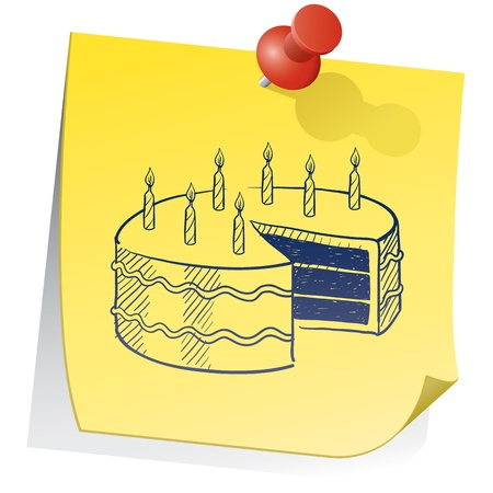 Doodle style birthday cake on yellow sticky note sketch in vector format Stock Photo - 14419947