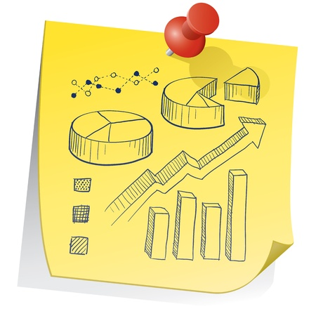 information median: Doodle style graph and chart elements on yellow sticky note sketch in vector format