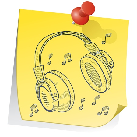 Doodle style headphones on yellow sticky note sketch in vector format  photo