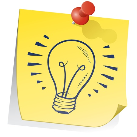 Doodle style light bulb or idea symbol on yellow sticky note sketch in vector format  photo