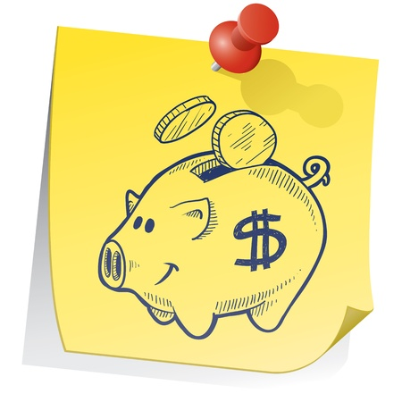 bank note: Doodle style piggy bank on yellow sticky note sketch in vector format