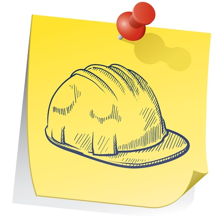 worksite: Doodle style construction worker hardhat on yellow stick note sketch in vector format