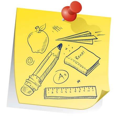 Doodle style school equipment on yellow sticky note sketch in vector format  Includes pencil, apple, ruler, book, grade, and paper airplane   photo