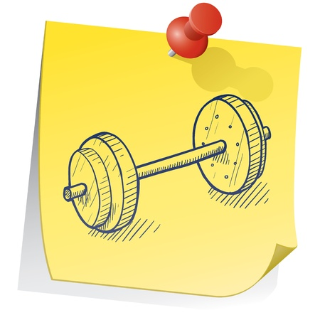 lifting weights: Doodle style weightlifting equipment on yellow sticky note sketch in vector format