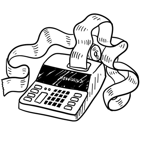 tax accountant: Doodle style adding machine or tax accounting sketch in vector format Stock Photo