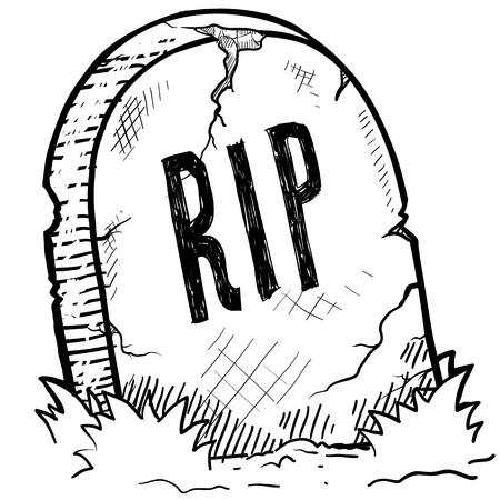 Doodle Stil Grabstein RIP mit Gravur Skizze im Vektor-Format Standard-Bild - 14419963