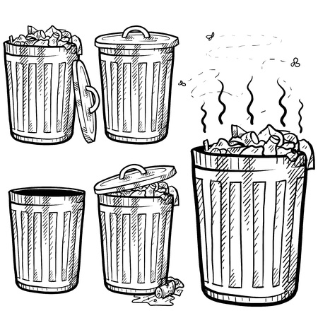 botes de basura: La basura de estilo Doodle puede dibujar en formato vectorial Set incluye botes de basura en una variedad de estados