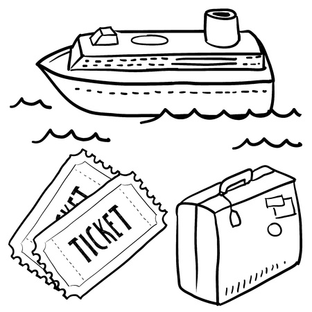 Doodle style cruise or vacation sketch in vector format  Set includes luggage, cruise ship, waves, and tickets  Stock Photo