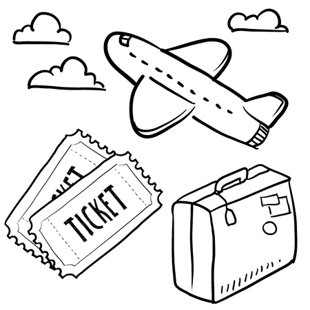 Doodle style air travel sketch in vector format  Set includes plane, tickets, luggage, and clouds