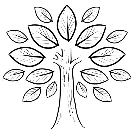 Doodle style abstract tree or nature sketch in vector format