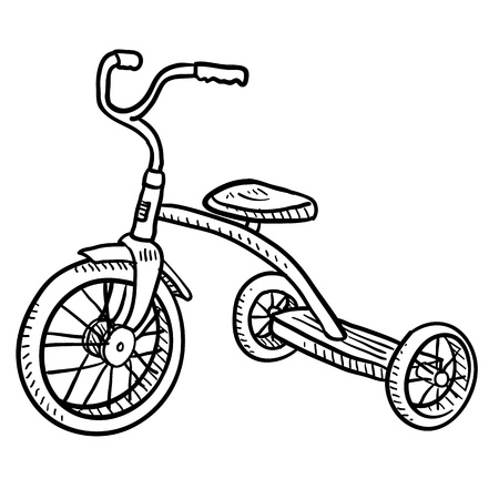 tricycle: Doodle style children s tricycle sketch in vector format