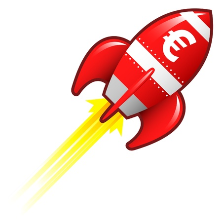 Euro currency symbol on red retro rocket ship illustration good for use as a button, in print materials, or in advertisements  illustration