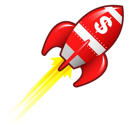 rocketship: Dollar sign currency symbol on red retro rocket ship illustration good for use as a button, in print materials, or in advertisements   Stock Photo