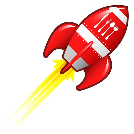 Eating utensils icon on red retro rocket ship illustration Stock Illustration - 14417349